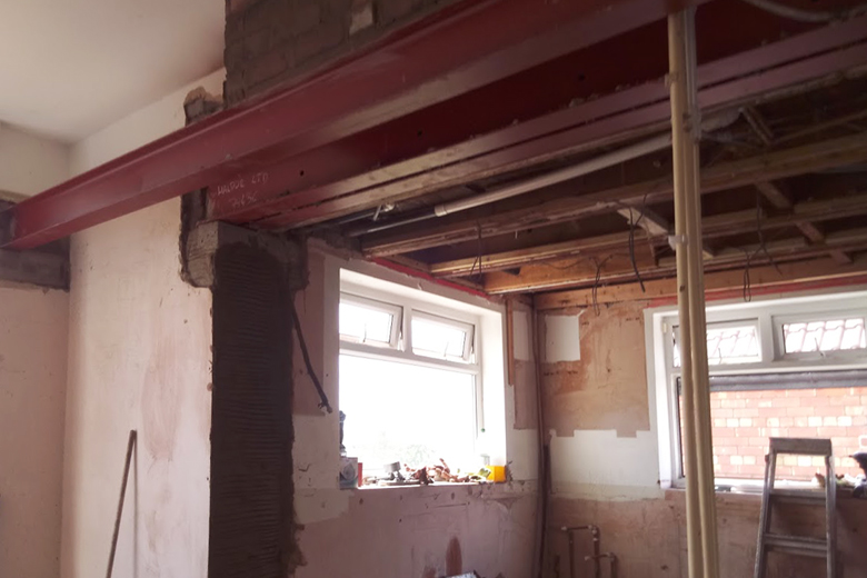 Kitchen extension in Long Ashton during refurbishment work. We removed a chimney to open into the dining room with patio doors. This created a Kitchen-diner space with great views of the countryside